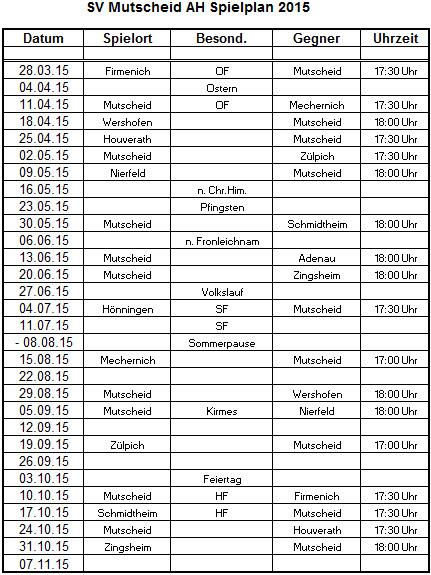 AH Spielplan 2015
